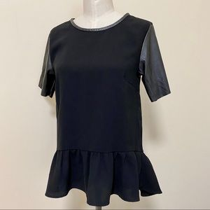 H&M Peplum Top with Faux Leather Short Sleeves 4